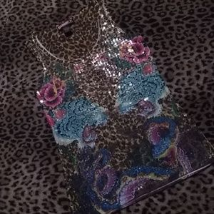 New Say What? sequin tattoo tank. Size M